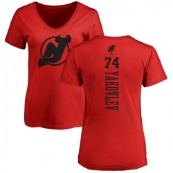 Women's Egor Yakovlev New Jersey Devils One Color Backer T-Shirt - Red